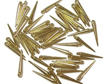Mini Spike beads shiny gold color spikes 50pcs