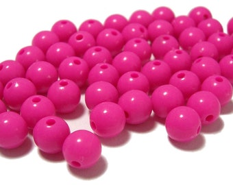 8mm Smooth Round Acrylic Beads in Hot Pink 50 beads
