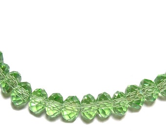 4x6mm Chinese faceted glass crystal beads in Peridot green 30pcs