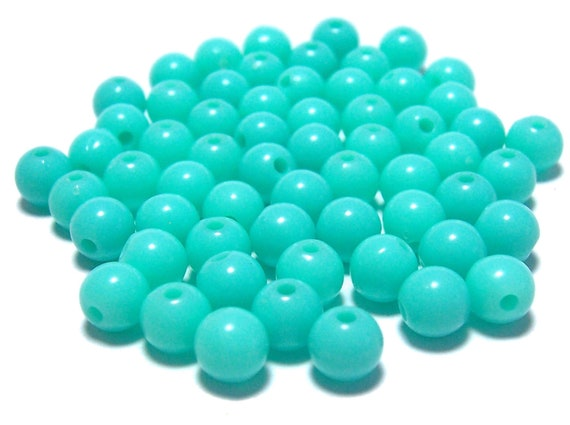 6mm Smooth Round Acrylic Beads Tiffany Mint Green color 100pcs