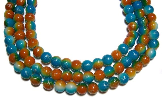 8mm multicolored glass beads 50 beads