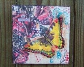 Folk Art Encaustic Butterfly and Rose painting Mixed Media original FREE SHIPPING