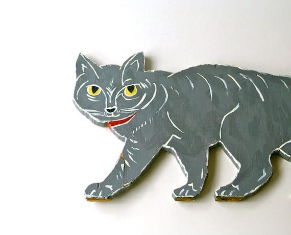Vintage Hand Made Wood Halloween Cat Silhouette, Vintage Folk Art Silhouette Cat Ornament