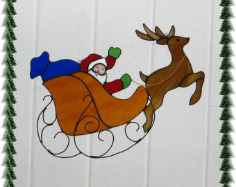 Santa and Reindeer Stained Glass Suncatcher