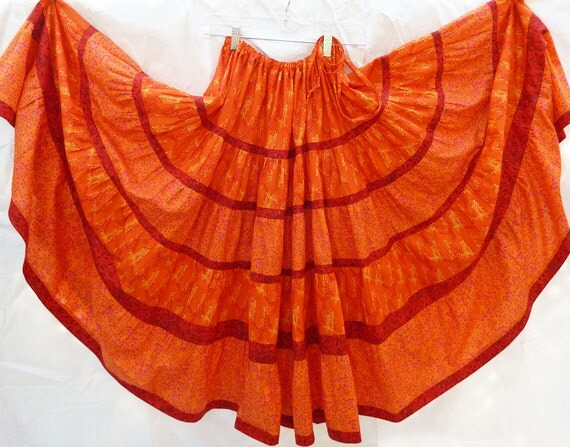 Long Orange and Red Bohemian Maxi Patchwork Skirt with Modified Bustle or All Around Gather Waist
