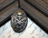 Pirate Locket Necklace. Gothic Skull and Crossbones. Jolly Roger. High Seas Swashbuckler. DC138