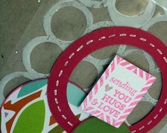 Hand Stamped Card Sending You Hugs And Love Card Acetate Overlay Kraft Avocado Pink Card