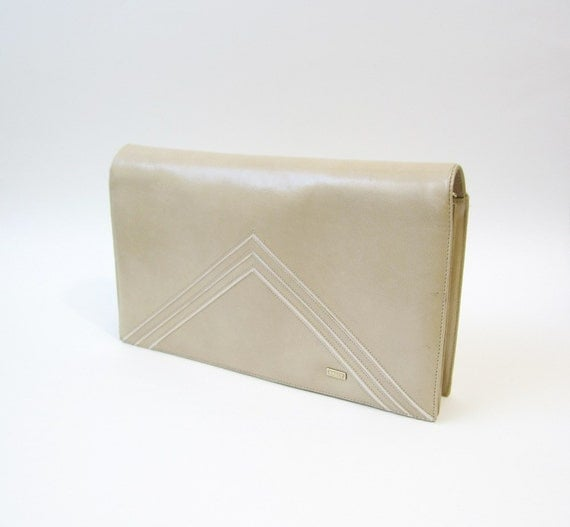 SALE - Vintage Bally Nude Cross Body Clutch Bag