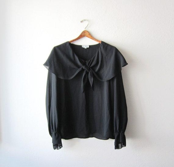 Vintage Black Front Tie Chiffon Blouse Size Large