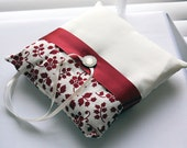 Ivory Satin and Red/Cream Mini Floral Ring Bearer Pillow