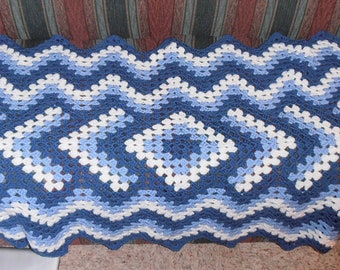 Blue Drop In the Pond Handmade Crochet Lap Afghan