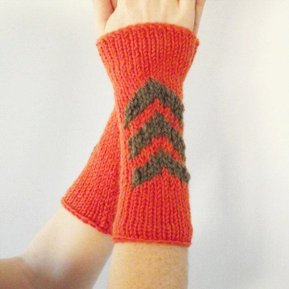 knitted arm warmers, orange wrist warmers with chevron, fingerless gloves
