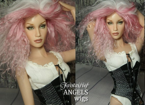 "OOAK Tibetan Lambswool Hard Cap Wig for Sybarite, JamieShow, Tonner and other 16"" bjd doll--- Pretty in Pink"