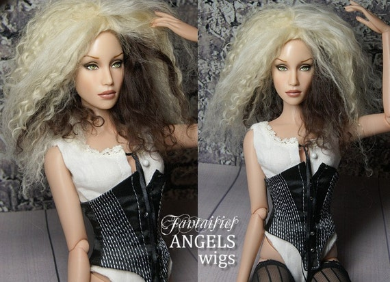 """OOAK Tibetan Lambswool Hard Cap Wig for Sybarite, JamieShow, Tonner and other 16"""" bjd doll--- Pretty Please with Sugar on Top"""