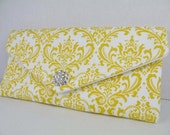 Envelope Clutch-Purse--Wedding Bridesmaid Gift--Corn Yellow and White MADISON Damask with Clear Crystal