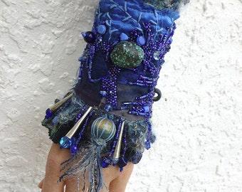 Gypsy tales XI cuff, fiber art bead embroidery gypsy bohemian blue cuff, fiber collage, Coachella, statement cuff, eco-friendly bracelet