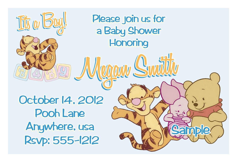 Winnie the Pooh Baby Shower Invitations Printable Photo Card – Winnie the Pooh Party Invitations