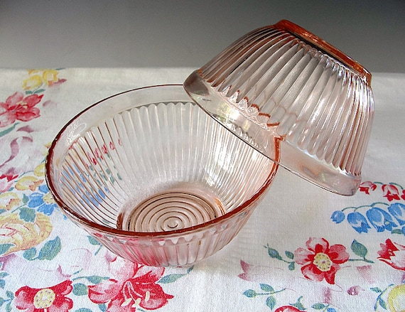 Pink Depression Mixing Bowls Hocking Glass Ribbed Pair Shabby Chic Cottage Decor Vintage 1940s