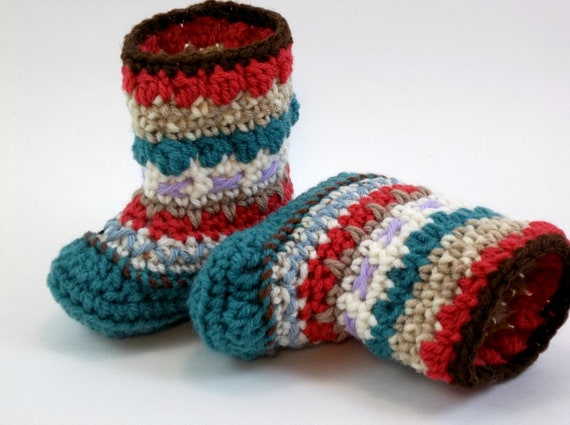 Baby Booties Mukluk or Granny Booties  Teal Rouge Beige 6 to 12 months OOAK