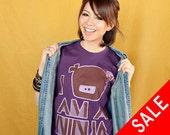 I Am A Ninja T-Shirt - Eggplant / Lavendar / Brown - Unisex Sizes L