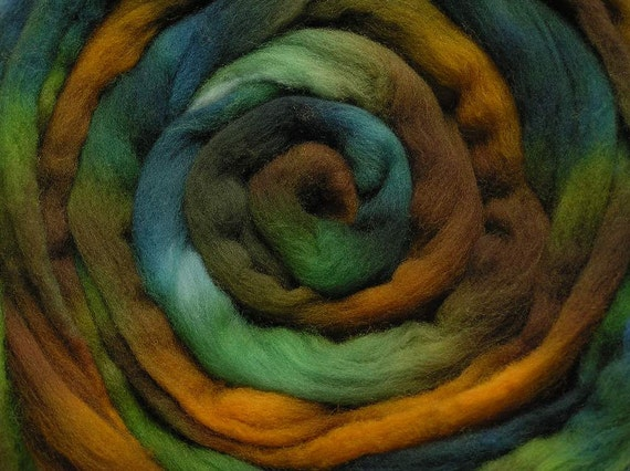 200g Space-Dyed Falkland Wool Tops - Estuary