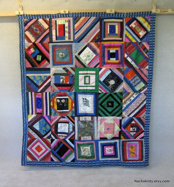 1920s Crazy Quilt, Ribbons, Satins, Silks & Found Objects
