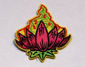 Lotus flower embroidered iron on patch