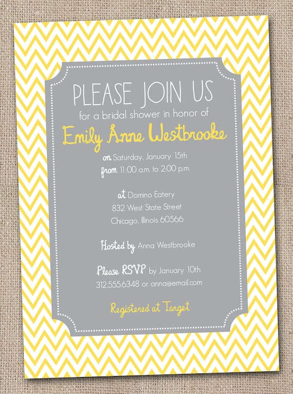 Yellow and Grey Chevron Stripes Printable Bridal Shower Invitation