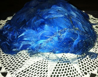 Vintage Hat- Blue feathers with netting