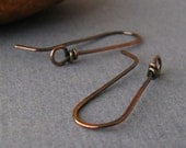 Rustic Copper Handmade Ear Wires, Long Wild West Earring Findings - Made in USA