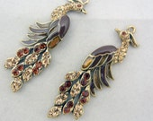 Pair of Phoenix or Peacock Drops Brown Epoxy Gold-tone