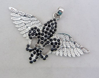 Black Rhinestone Fleur de Lis with Wings Pendant Silver-tone