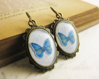 Blue Paper Butterfly earrings - Resin jewelry - Brass or Niobium (hypoallergenic) Fish Hooks