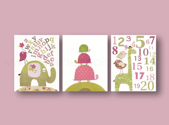Etsy Girl Nursery Wall Decor : Baby girl room decor nursery wall art kids elephant