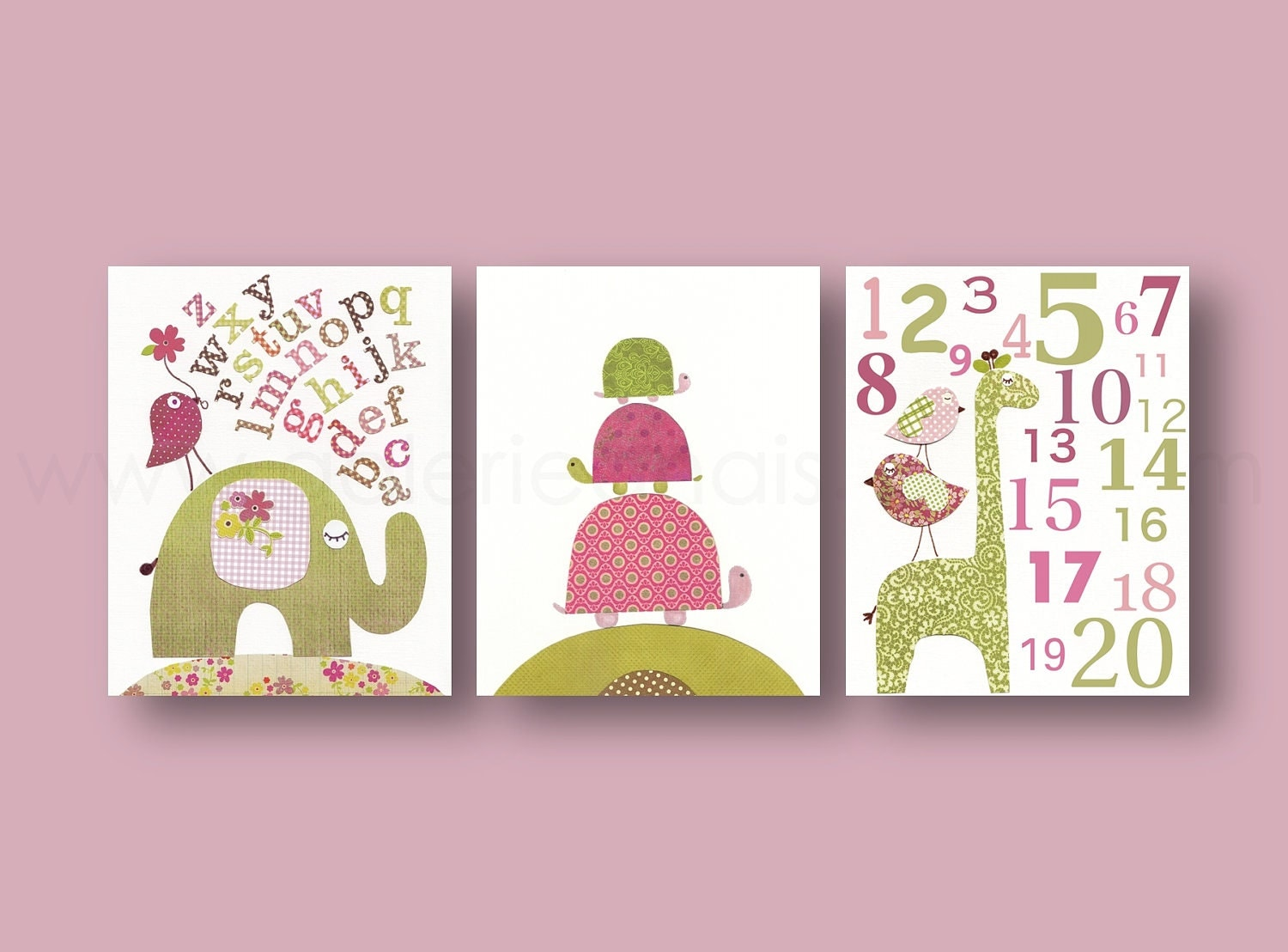 Baby girl room decor nursery wall art kids wall art elephant for Baby girl wall decoration
