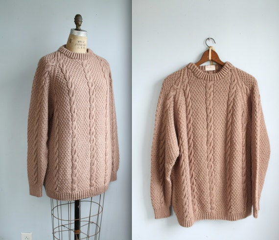 Cyber Monday SALE vintage Men's handknit sweater. large - xl / Camel cable knit wool. 70s 80s preppy / the REUBEN on RYE sweater