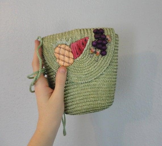 Vintage LUA Purse / 1980s Bucket Bag / Raffia Purse