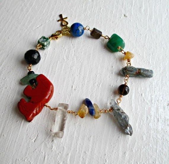 The Long & Winding Road. Stone Beaded Wire Wrapped Kyanite Crystal Charm Bracelet