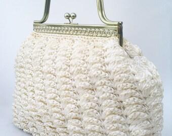 Quo Vadis large straw handbag | 1950s straw handbag | vintage straw handbag