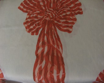 2 Fabric pieces white cotton with Bow print in red orange colour