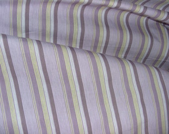 Fabric piece cotton purple stripe and yellow brown