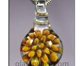 SALE - Blown Glass Pendant - Sea Anemone Boro Lampwork Focal Bead - Hand Blown Glass Jewelry (3236)
