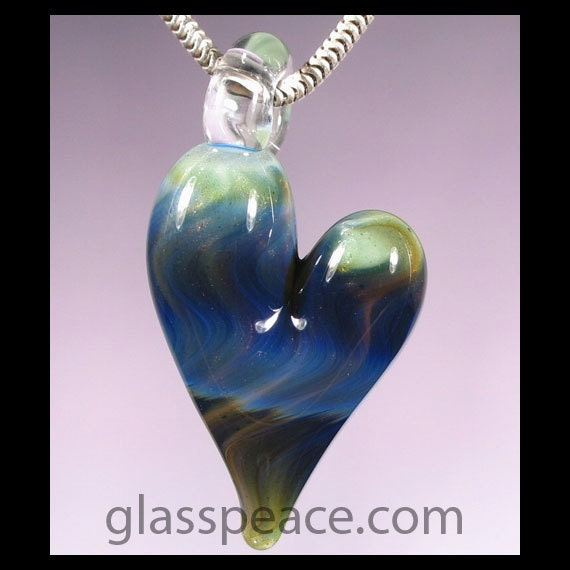 Sparkling Blue and Green Glass Heart Necklace Focal - Lampwork Bead - Hand Blown Glass Jewlery (2848)