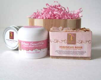 Gift  Set with Organic Shea Butter, Hibiscus Rose Natural Soap, Shea Souffle, Gifts for her, Gift Ideas