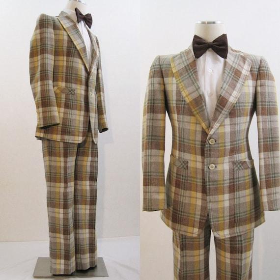 60s 70s suit vintage s plaid flared jacket