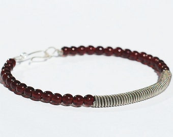Guitar String Bracelet- Upcycled Silver and Garnet Red Beaded Jewelry, Guitar String Jewelry, Guitar Player Gift, Music Jewelry