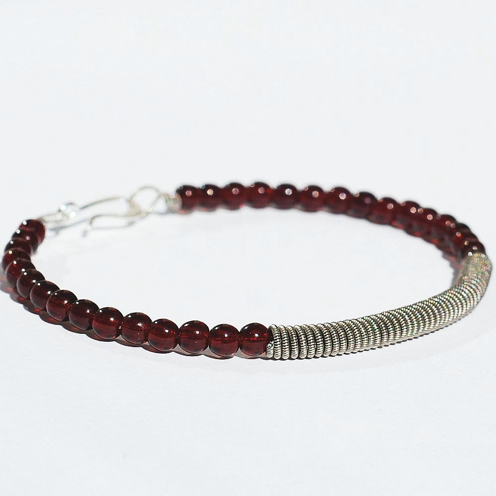 Guitar String Bracelet Upcycled Silver and Garnet Red Beaded