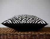 "16"" DECORATIVE PILLOW Black and Cream Zebra Safari Print by JillianReneDecor Modern Home Decor (Ready to Ship)"