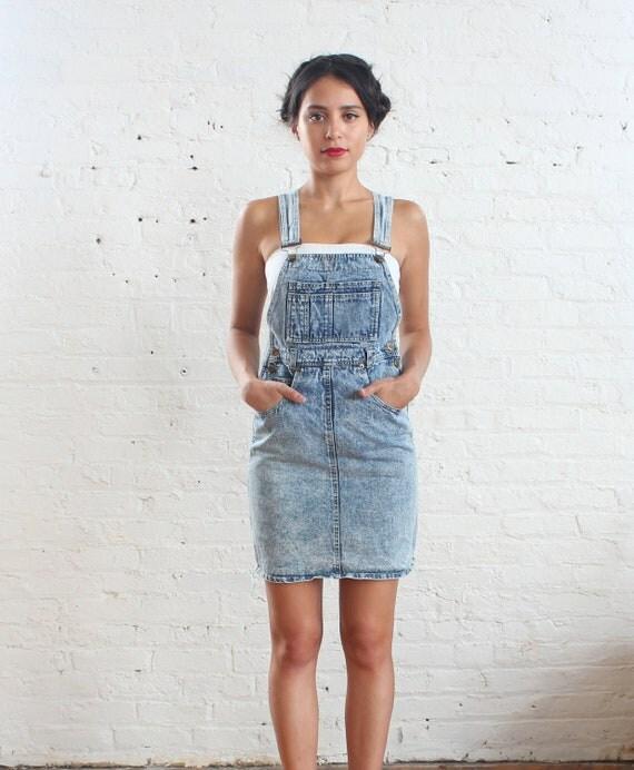 RESERVED ... acid wash denim overalls dress (xs-s)