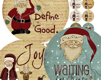 Instant Download - Waiting for SANTA (2 inch round) Images Digital Collage Sheet  snow winter christmas holiday presents printable sticker